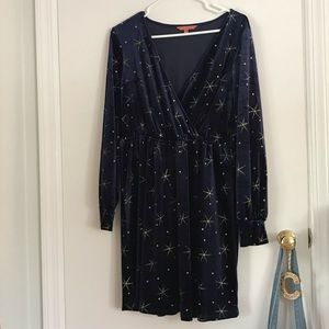 ModCloth Velvet-look Navy Dress with Gold Stars